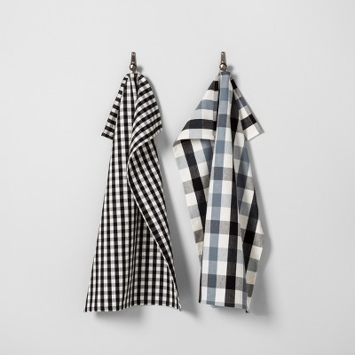 Gingham Kitchen Towel Set of 2 - Black/White - Hearth & Hand™ with Magnolia