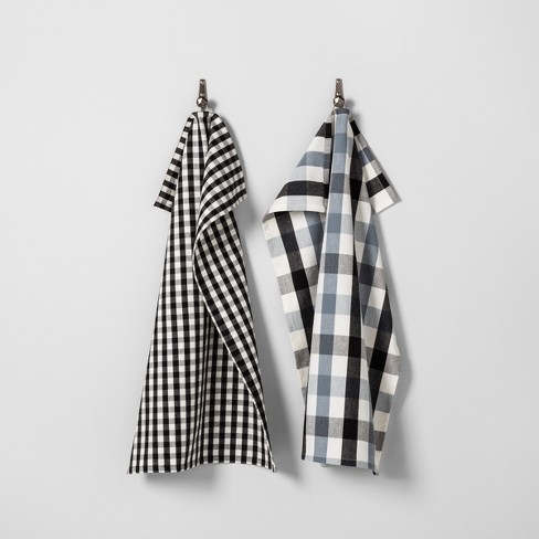 Gingham Kitchen Towel Set Of 2 Black White Hearth Hand With Magnolia