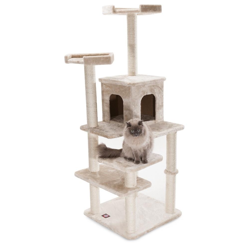 Majestic Pet Casita Faux Fur Activity Center Cat Scratcher Honey 66 in