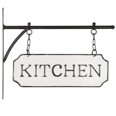 White and Black Enamel Wall Sign on Metal Hanger - Foreside Home & Garden