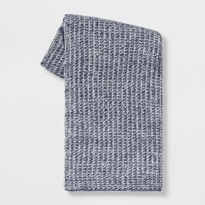 Heathered Knit Throw Blue - Threshold™