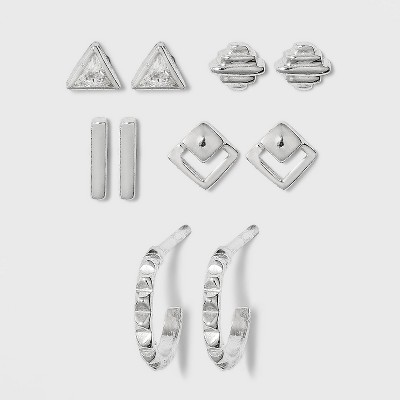 Sterling Silver with Cubic Zirconia Geometric Earring Set 5pc - A New Day™ Silver