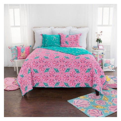 b9e95015ff828 Seashell Coral Quilt Set Pink - Simply Southern   Target