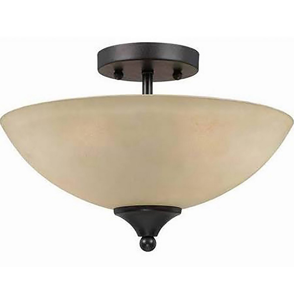 Image of Bronze Semi Flush with Tea Stained Glass Shades (Set of 2) - Lumenno International, Brown