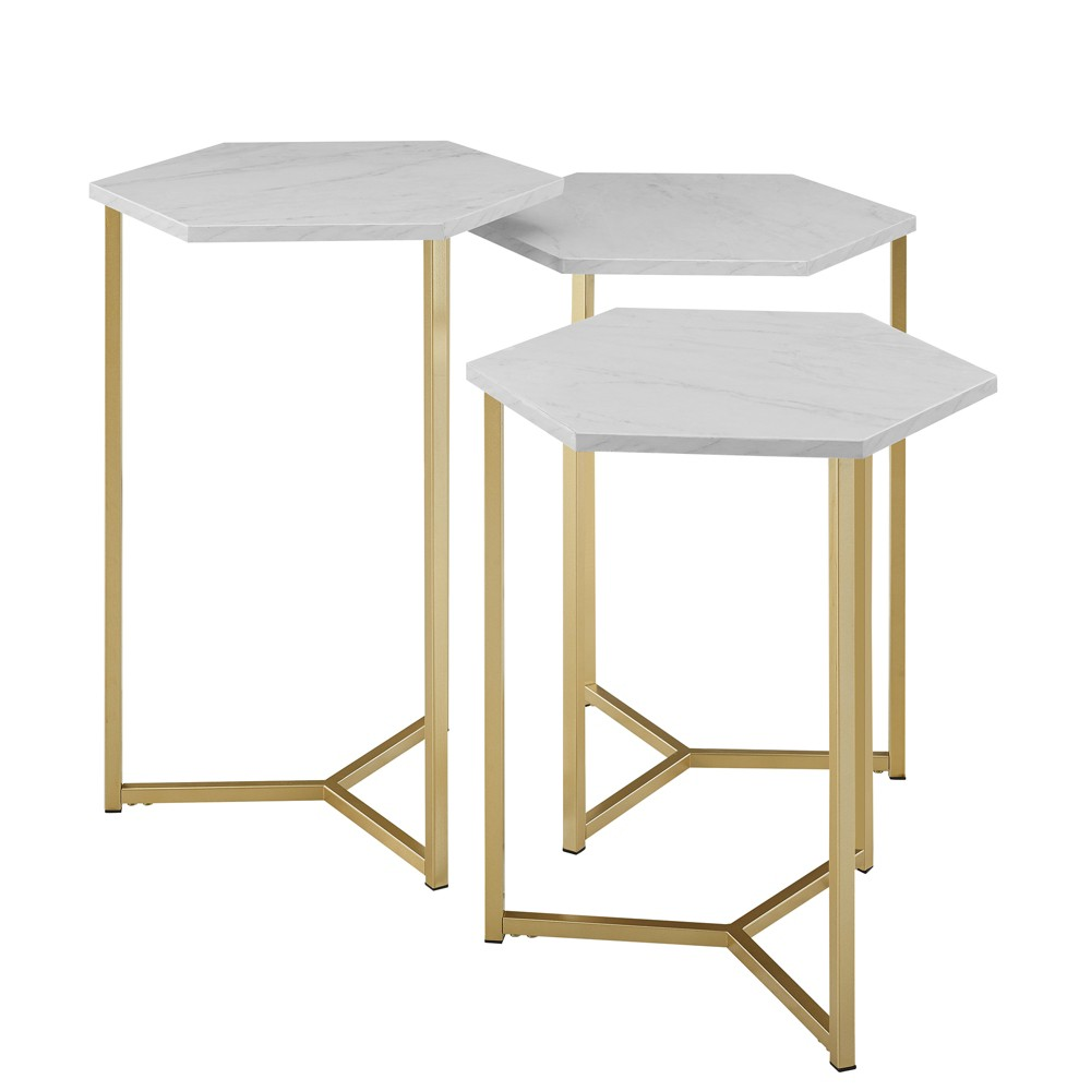 Set Of 3 Glam Geometric Nesting Hexagon Accent Tables Dark White Marble Gold Saracina Home