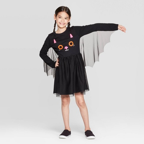 Girls' Halloween Bat Dress - Cat & Jack™ Black - image 1 of 3