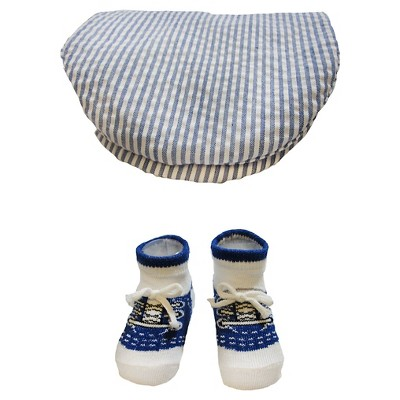 Baby Boys' So'Dorable Striped Flat Cap and Knit Booties Set Blue 0-12M