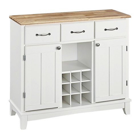 Hutch Style Buffet Wood White Natural