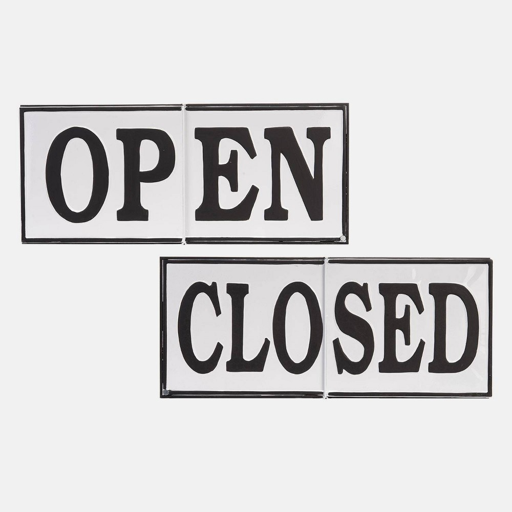 "Image of ""24"""" Metal Open Or Closed Sign White - Foreside Home & Garden"""