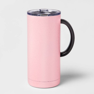 18oz Double Wall Stainless Steel Glitter Mug with Lid and Handle Pink - Room Essentials™