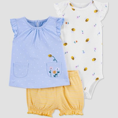 Baby Girls' Bee Floral Pocket Top & Bottom Set - Just One You® made by carter's White/Blue/Yellow 9M