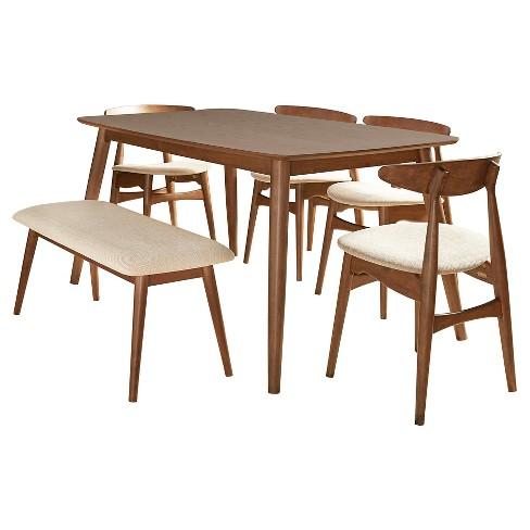 "Cortland Danish Modern Walnut 6-Piece 66"" Dining Set - Walnut - Inspire Q - image 1 of 8"