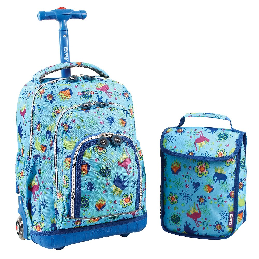 """Image of """"J World 16"""""""" Lollipop Rolling Backpack with Lunch Kit - Jungle"""""""