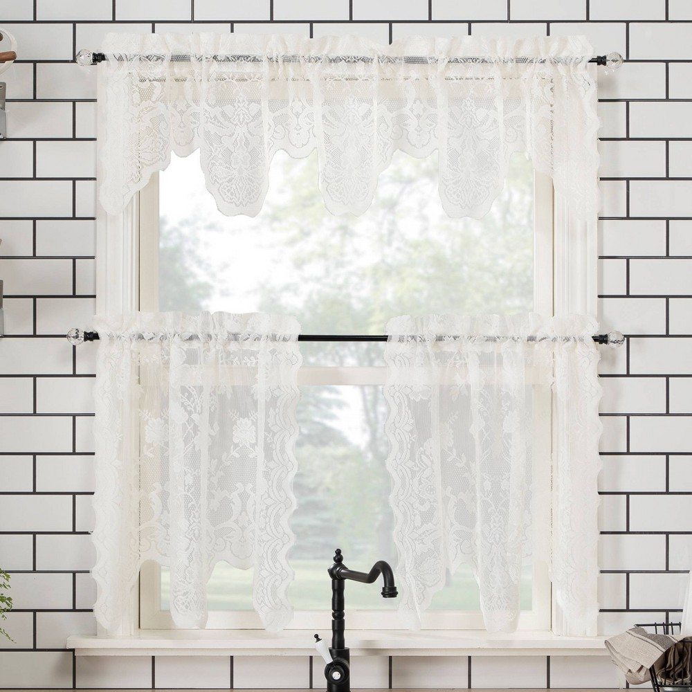 """Image of """"58""""""""x24"""""""" Alison Floral Lace Sheer Rod Pocket Kitchen Curtain Valance and Tiers Set Ivory - No. 918"""""""