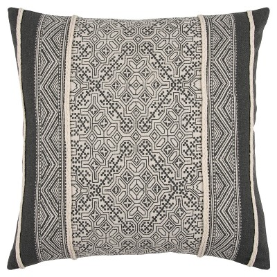 Gray And Natural Tribal Throw Pillow - Rizzy Home
