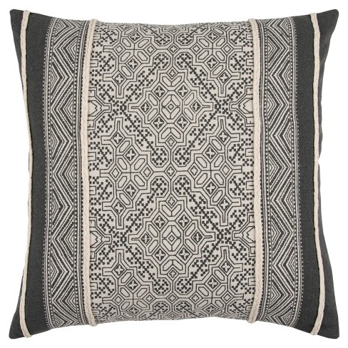 Grey And Natural Tribal Throw Pillow - Rizzy Home - image 1 of 3