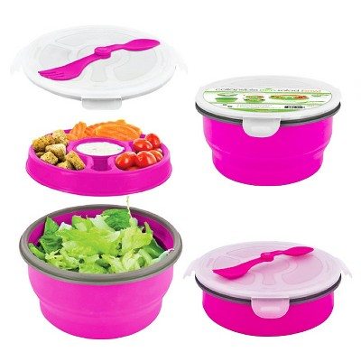 SmartPlanet Deluxe Collapsible Pink Salad Bowl Kit 65 oz