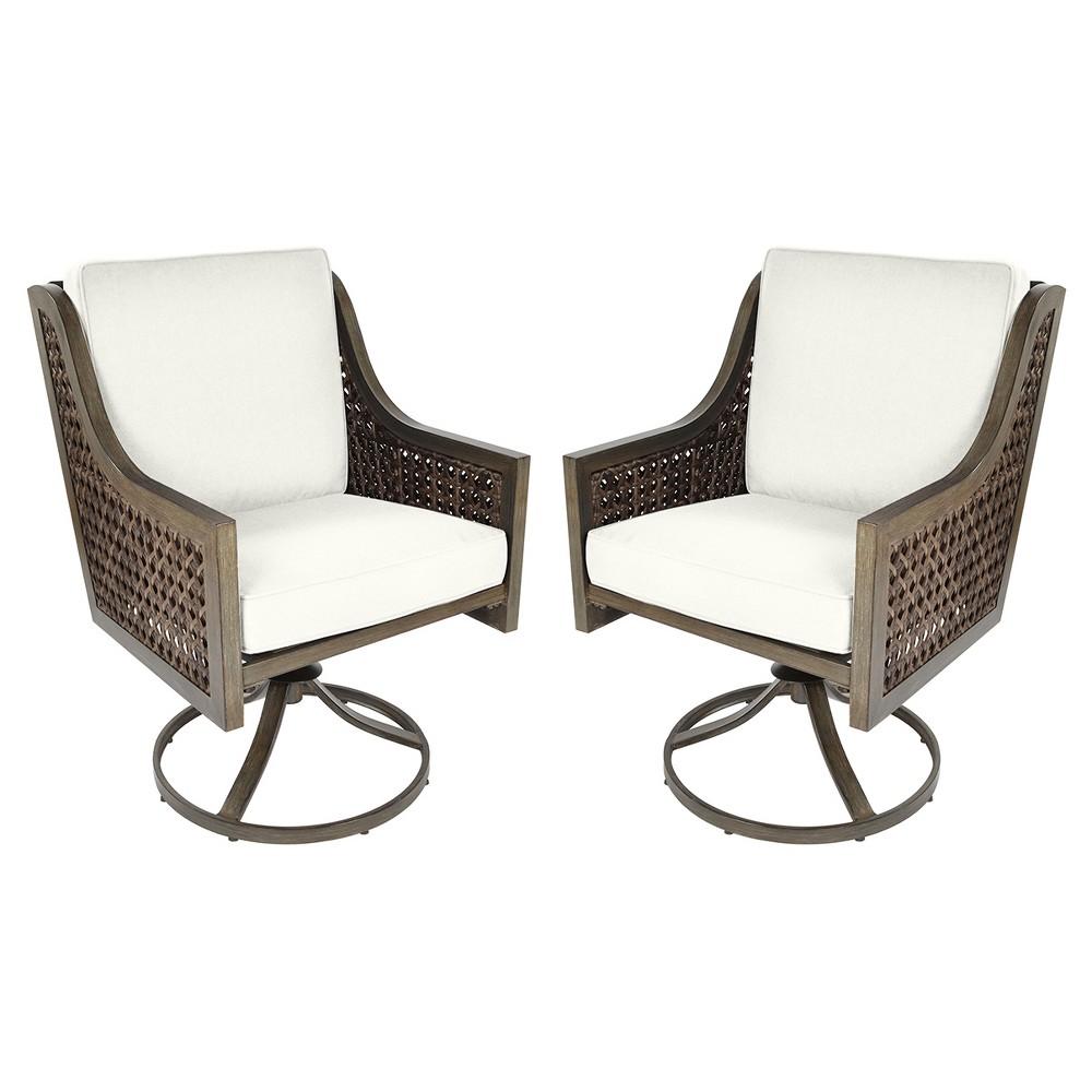 Fabron 2pk Wicker Swivel Rocking Patio Dining Chair - Linen - Threshold