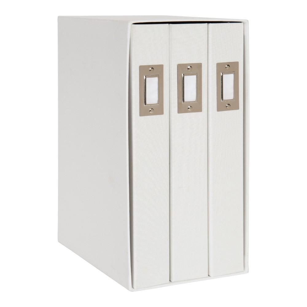 Image of Set of 3 Cydney Fabric Photo Albums In Display Box White - Designovation