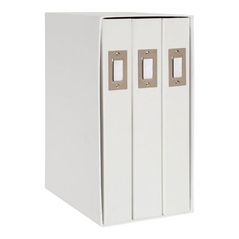 "6"" x 13"" Cydney Set of 3 Fabric Photo Albums in Display Box White - DesignOvation - image 1 of 4"