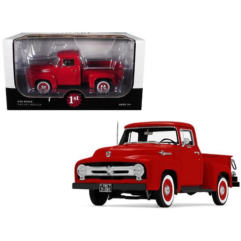 1956 Ford F 100 Pickup Truck High Feature Vermillion Red 1 25 Cast Model Car By First Gear