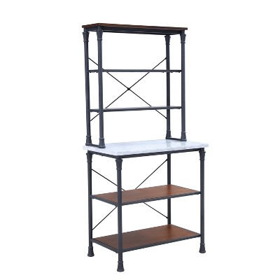 Wright Bakers Rack Rustic Gray With Dark Distressed Pine - Aiden Lane