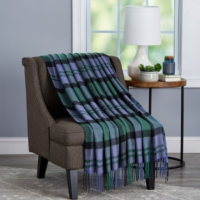 Soft Throw Blanket - Oversized, Luxuriously Fluffy, Vintage-Look and Cashmere-Like Woven Acrylic - Breathable by Hastings Home (Evergreen Plaid)