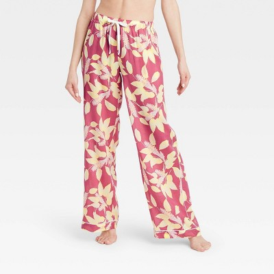 Women's Floral Print Simply Cool Wide Leg Pajama Pants - Stars Above™ Rose