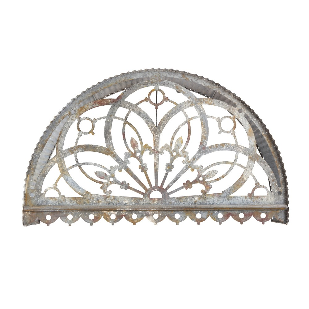 "Image of ""23.5"""" x 9.75"""" Decorative Metal Cutout Canopy Gray - 3R Studios"""