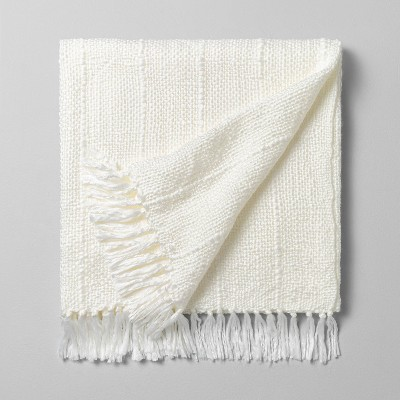 Chunky Stripe Fringe Throw Blanket Cream - Hearth & Hand™ with Magnolia