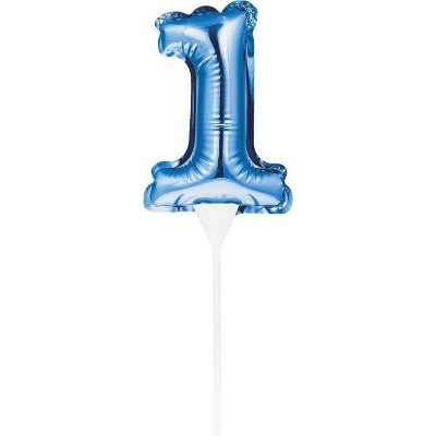 Number Balloon Cake Topper Blue