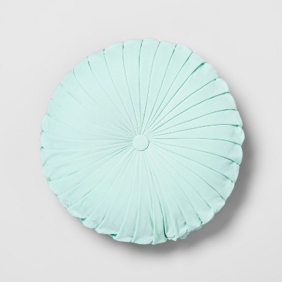 Aqua Pleated Velvet Round Throw Pillow - Opalhouse™