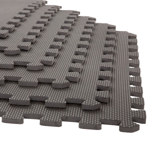 "Stalwart 24""x24"" 6pk Interlocking EVA Faux Leather Foam Floor Mats Gray - image 1 of 4"