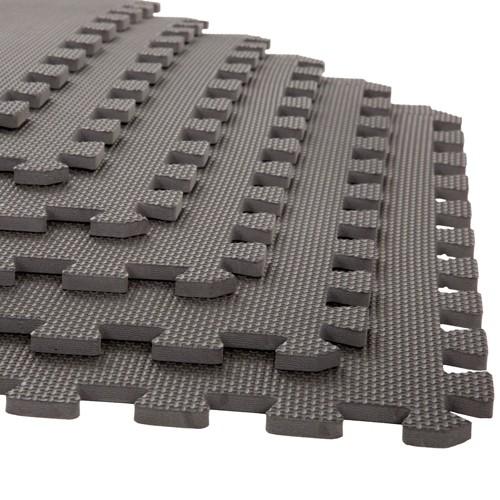 "Stalwart 24""x24"" 6pk Interlocking EVA Faux Leather Foam Floor Mats Gray"