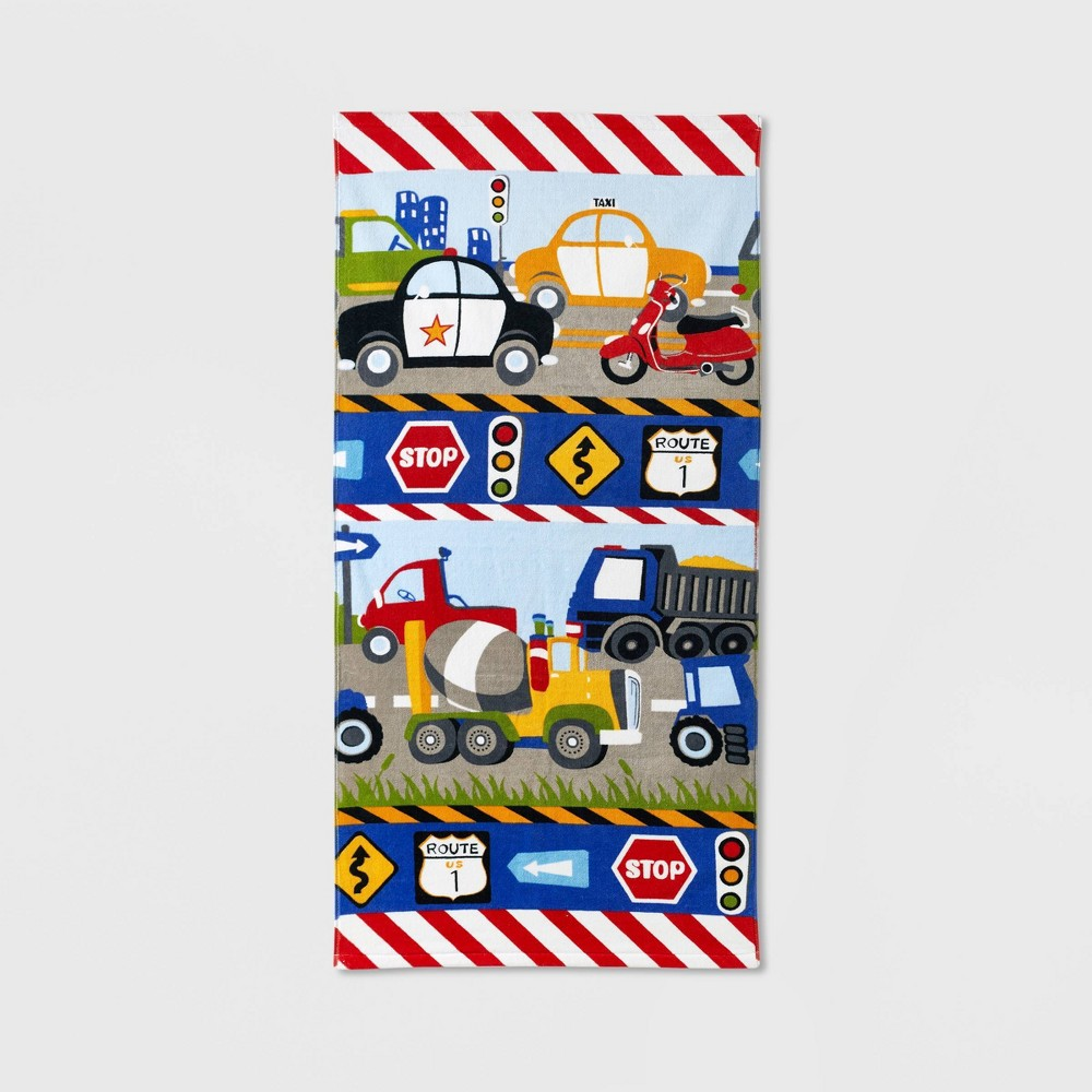Image of Trains and Trucks Printed Bath Towel - Dream Factory