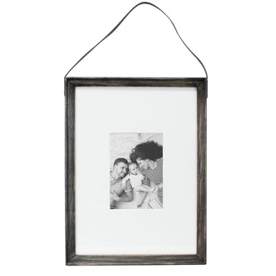 11 X15  Matted To 5 X7 Thin Wood Leather Strap Frame Black - Threshold™
