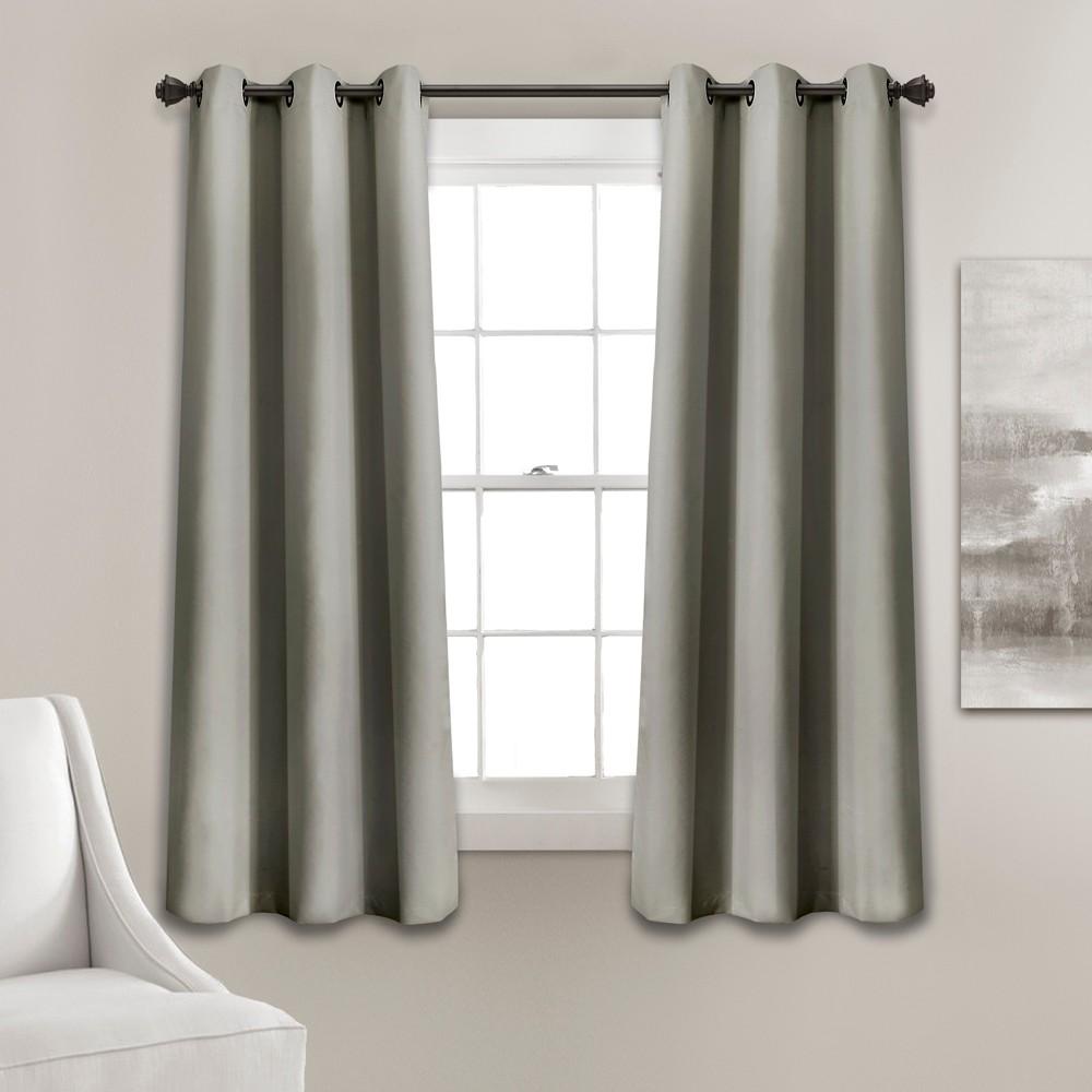 Set of 2 (63x38) Absolute Blackout Window Curtain Panels Dark Gray - Lush Décor Cheap