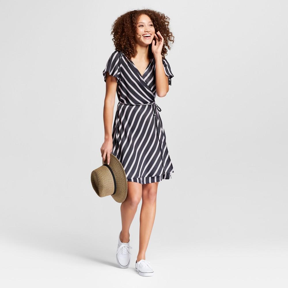 Women's Striped Short Sleeve Wrap Dress - A New Day Black M