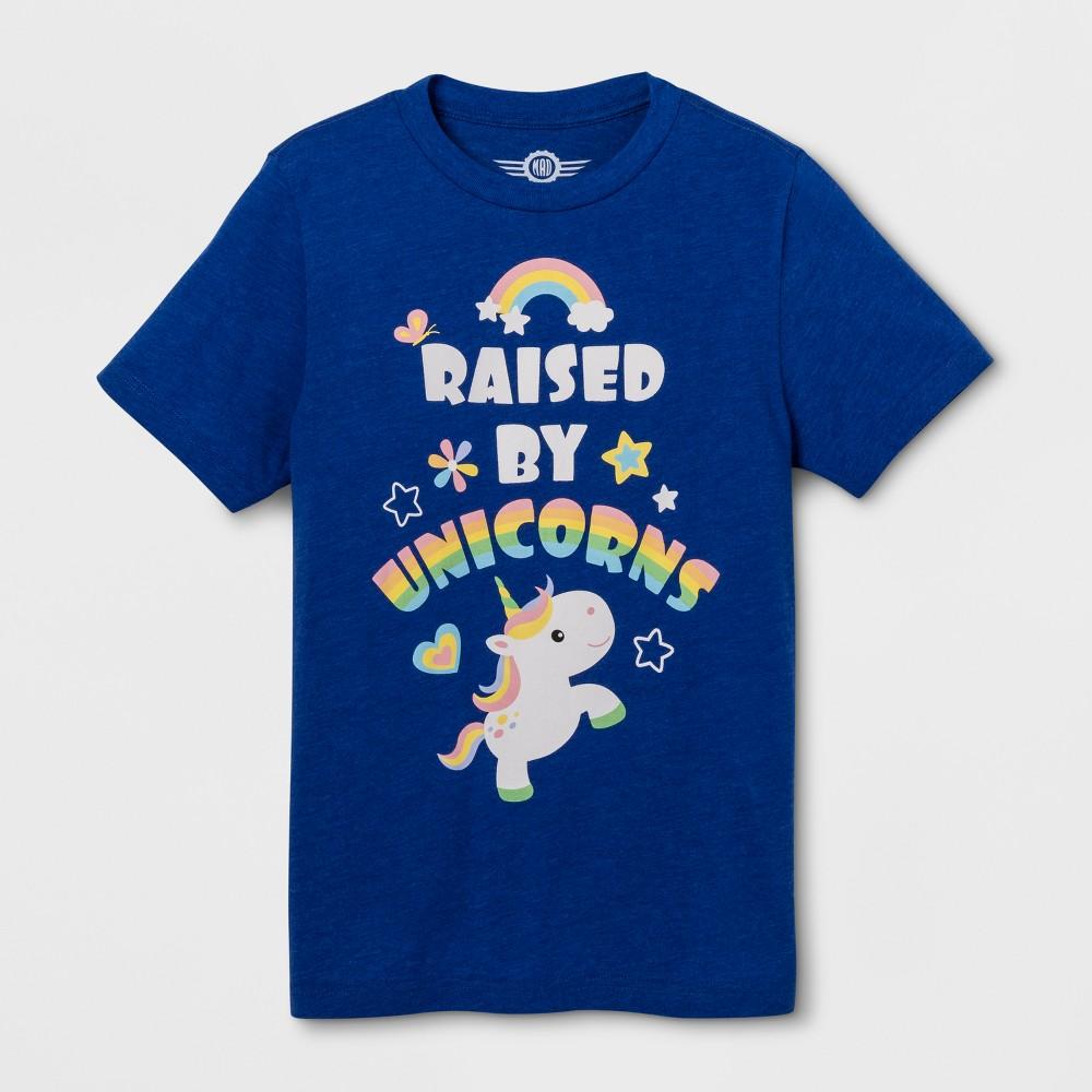 Pride Kids' Short Sleeve Raised by Unicorns T-Shirt - Royal XL, Boy's, Blue