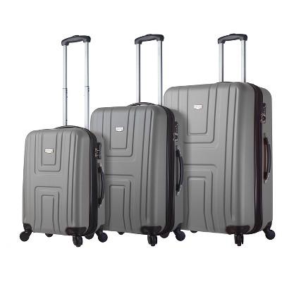 Mia Viaggi Ferrara Hardside 3pc Luggage Set - Silver
