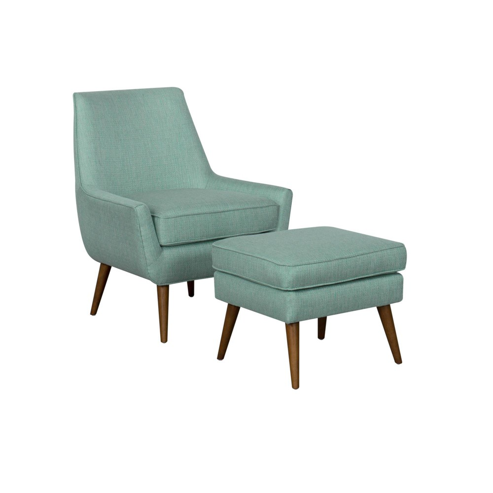 Dean Modern Accent Chair with Ottoman Aqua - HomePop was $389.99 now $292.49 (25.0% off)