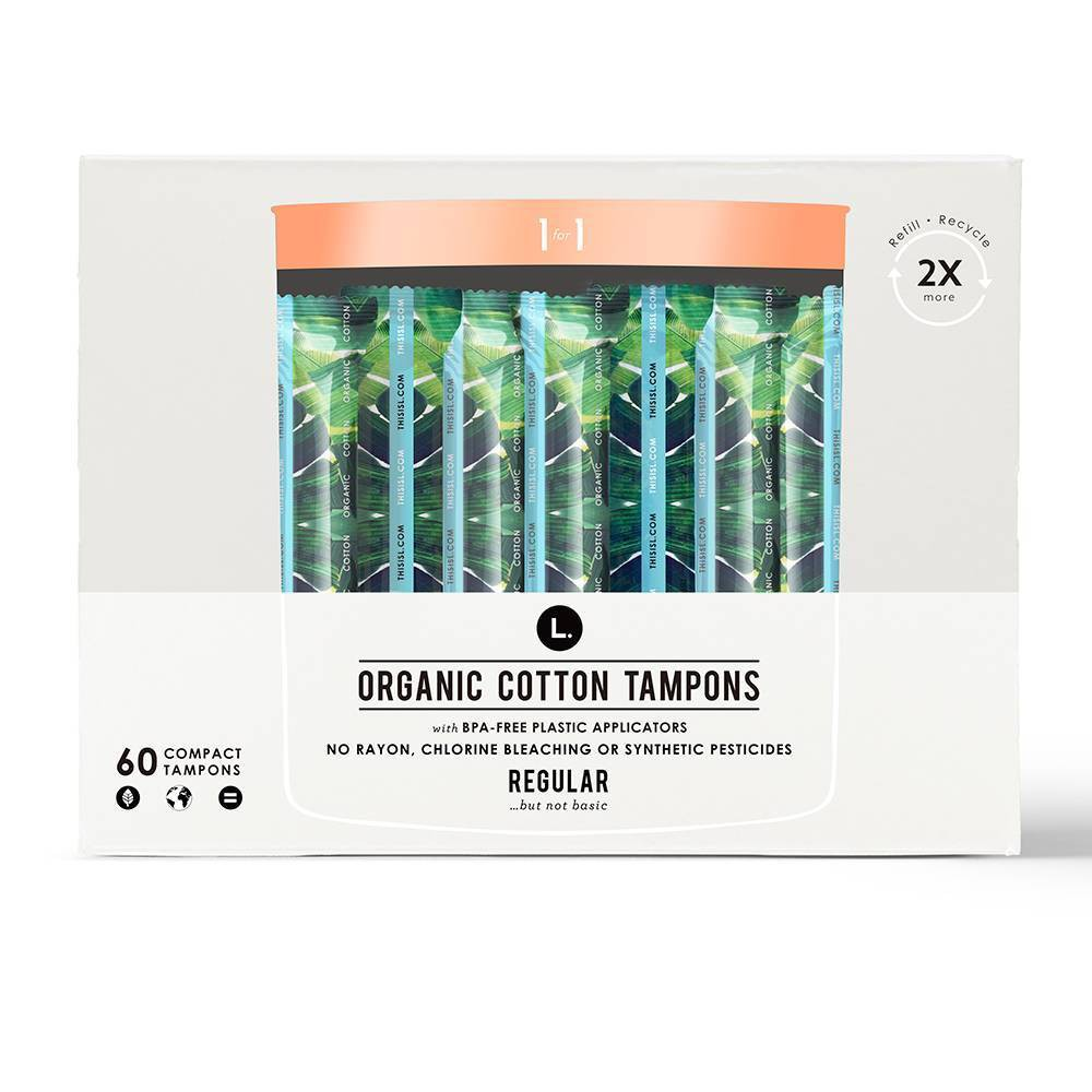 L. Organic Cotton Regular Absorbency Tampons- 60ct