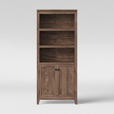 72  Carson 5 Shelf Bookcase with Doors Walnut Brown - Threshold™