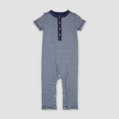 Burt's Bees Baby® Baby Boys' Organic Cotton Classic Stripe Henley Coveralls - Navy 6-9M