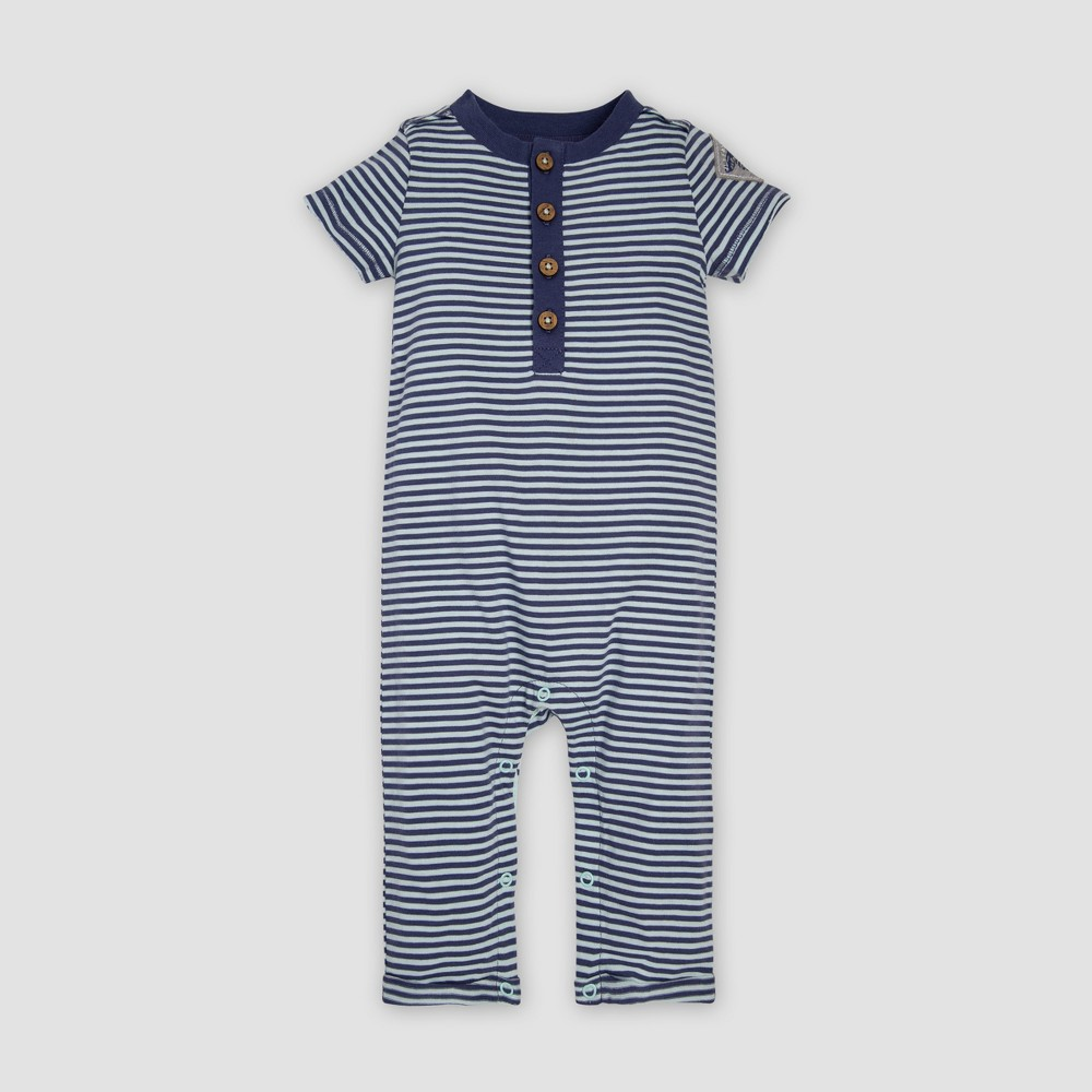 Burt's Bees Baby Baby Boys' Organic Cotton Classic Stripe Henley Coveralls - Navy 18M, Blue