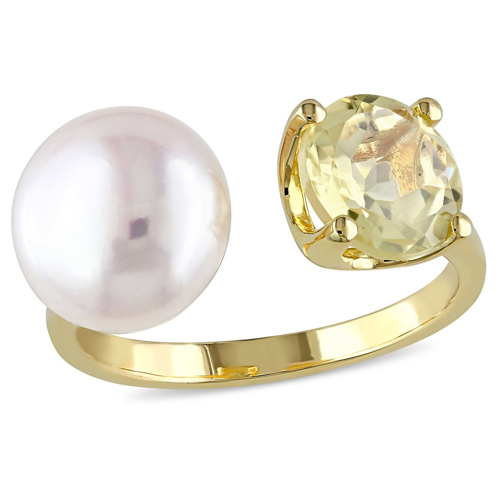 10 - 10.5mm Freshwater Pearl and 1.75 CT. T.W. Lemon Quartz Ring in Yellow Plated Sterling Silver - (6), White