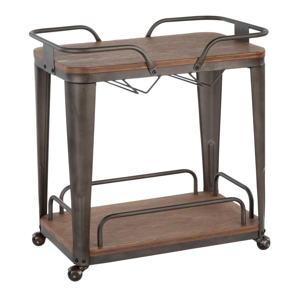 Oregon Industrial Bar Cart Antique - LumiSource