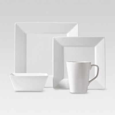 Square Rim Porcelain 16pc Dinnerware Set White - Threshold™