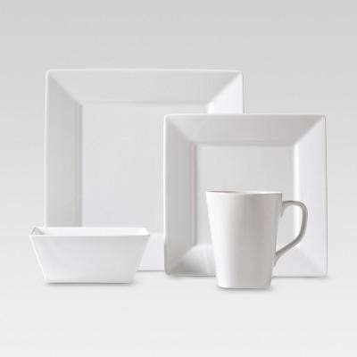 Threshold Porcelain Square 16-Piece Dinnerware Set