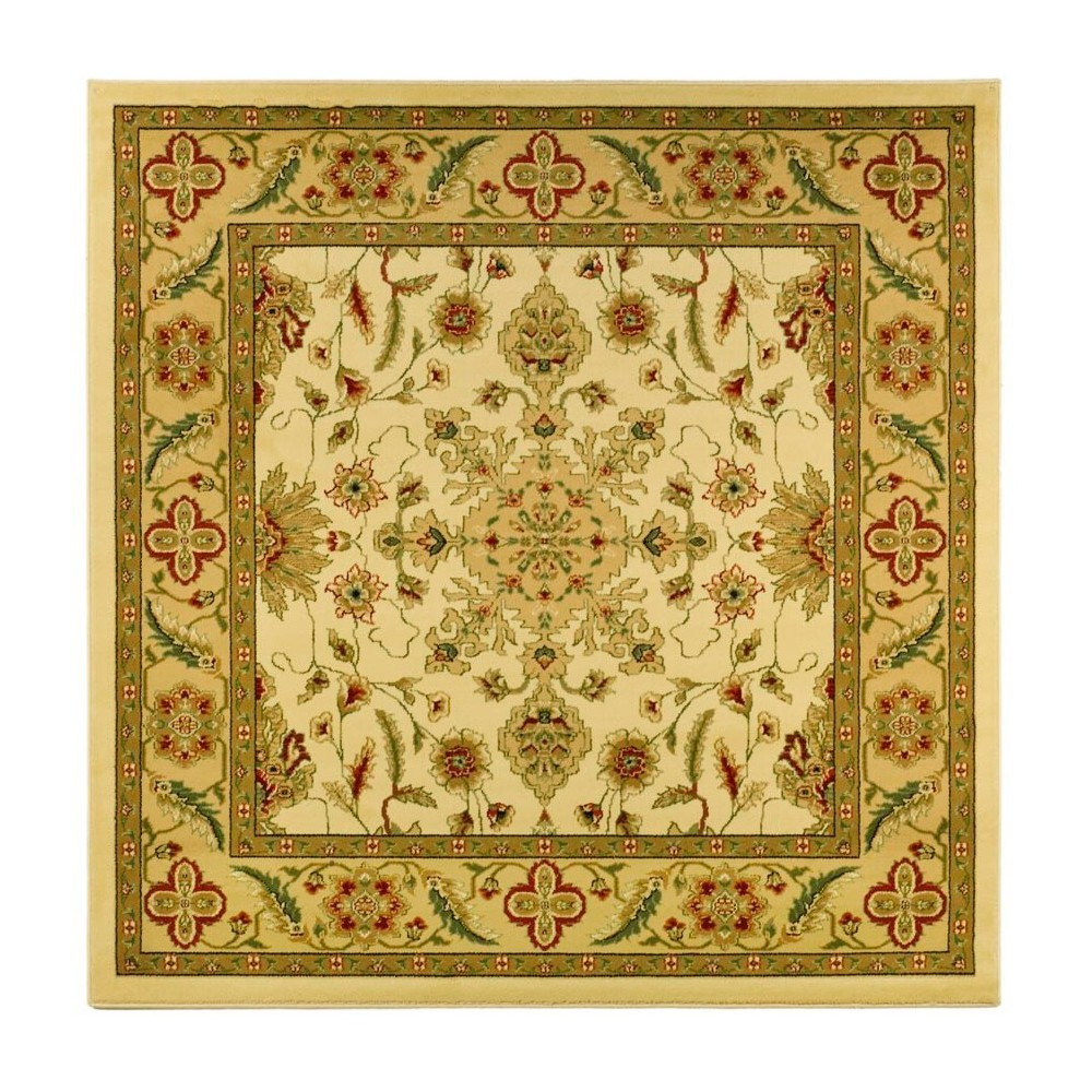 Ivory/Tan Floral Loomed Square Area Rug 6'X6' - Safavieh, Beige White